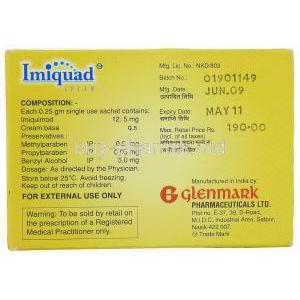 Imiquad, Imiquimod Cream Box Information
