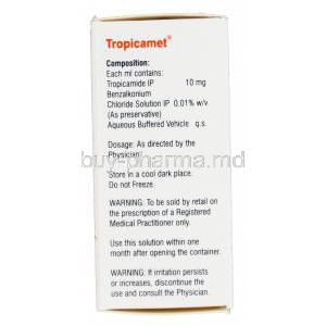 Tropicamet, Generic Mydriacyl, Tropicamide 1% Eye Drops 5ml Box Information