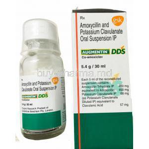 Augmentin,Amoxycillin and potassium clavulanate Oral Suspension 5.4g 30ml