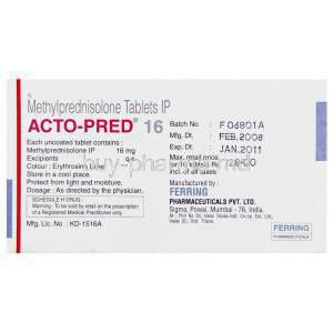 Acto-Pred, Generic Medrol, Methylprednisolone 16 mg Tablet Manufacturer info