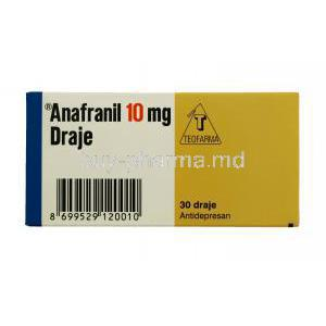 Anafranil, Clomipramine 10mg 30tabs, Draje, packaging