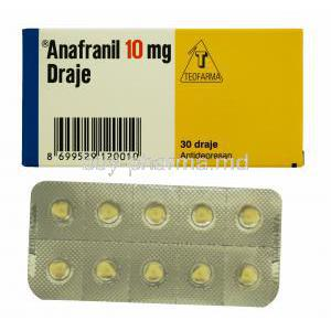 Anafranil, Clomipramine 10mg 30tabs, Draje, packaging and blister