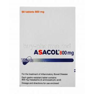 Asacol, Mesalazine, 90tabs 800mg, Packaging Information