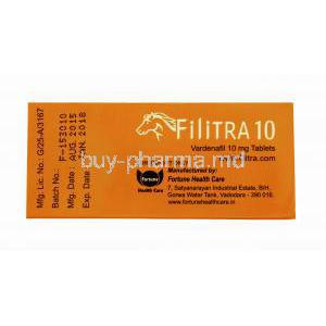 Generic Levitra, Filitra 10, Vardenafil 10mg 100 tabs, Box side view, manufactured by Fortune Health care, Batch, Mfg Date, Exp Date