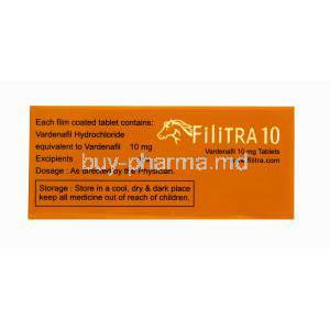 Generic Levitra, Filitra 10, Vardenafil 10mg 100 tabs, Box side view, Contents of each tab, Dosage and storage instructions.