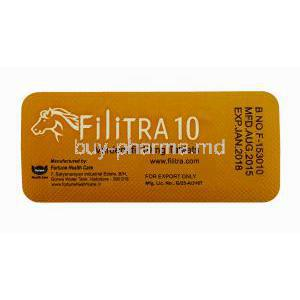 Generic Levitra, Filitra 10, Vardenafil 10mg 100 tabs, Blister pack back view with information, manufactured by Fortune Health Care