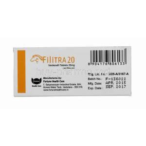 Generic Levitra, Filitra 20, Vardenafil 20mg 100tabs, Box side view, Manufactured by Fortune Health Care