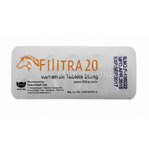 Generic Levitra, Filitra 20, Vardenafil 20mg 100tabs, Blister pack back view with information, Manufactured by Fortune health care
