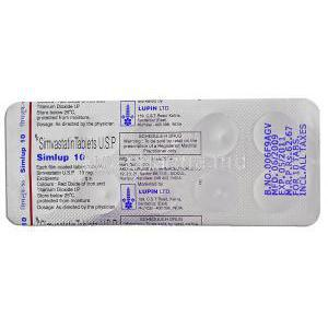 Simlup 10, Generic  Zocor, Simvastatin 10mg Tablet Strip Information