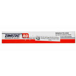 Generic Zocor, Zimstat, Simvastatin 80mg 30 tablets, Alphapharm, Box side presentation with warning sign
