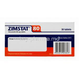 Generic Zocor, Zimstat, Simvastatin 80mg 30 tablets, Alphapharm, Box side presentation with dosage and storage instructions. Registered trademark of Alphapharm Pvt Ltd