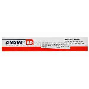 Generic Zocor, Zimstat, Simvastatin 80mg 30 tablets, Alphapharm, Box side view