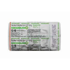 Nicotine Replacement Therapy Pastille/ Chewing Gum, Nicotine Polaorilex Gum USP 4mg, Nicogum Blister pack back view, contents information, storage instructions, warning label, Manufactured by Cipla Ltd
