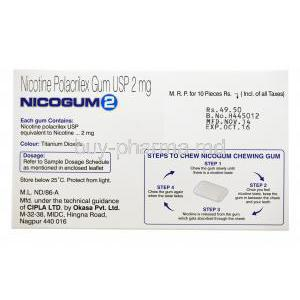 Nicotine Replacement Therapy Pastille/ Chewing Gum, Nicotine Polaorilex Gum USP 2mg, Nicogum 2, Fresh mint flavoured, sugar free 10 pieces, Box cak view, contents of each gum, dosage and storage instructions, pictured steps to chew nicogum, Manufactu