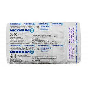 Nicotine Replacement Therapy Pastille/ Chewing Gum, Nicotine Polaorilex Gum USP 2mg, Nicogum 2, Fresh mint flavoured, sugar free 10 pieces, Blister pack back view, contents of each gum, dosage and storage instructions