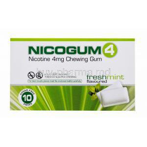 Nicotine Replacement Therapy Pastille/ Chewing Gum, Nicotine Polaorilex Gum USP 4mg, Nicogum4, Fresh mint flavoured, sugar free 10 pieces, Box front view