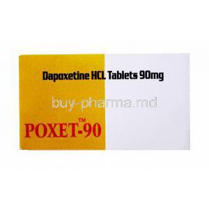 Generic Priligy, Poxet-90, Dapoxetine Tablet, box front view