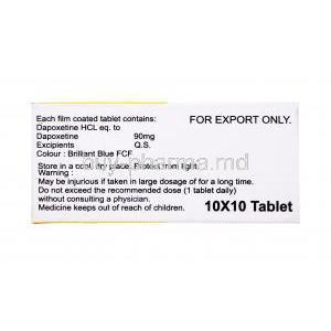 Generic Priligy, Poxet-90, Dapoxetine Tablet, box side view, contents of each tablet, storage instructions, warning label, 10x10