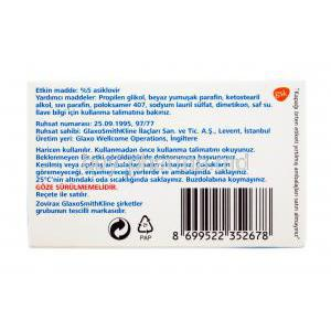 Zovirax Eye Ointment, 2g 5% asiklovir, box back presentation, GSK