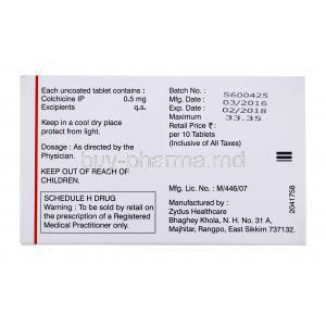 Generic Colcrys, Colchicine tablets IP, Zycolchin tablets, 320 tablets, Zydus Synovia, box back presentation, contents information, dosage and storage instructions, warning label, manufactured by, ZYdus healthcare