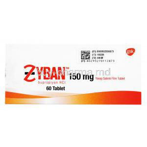 Zyban, Bupropion Hydrochloride, 60 tabs 150mg, GSK, Box front presentation