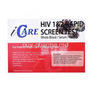 Icare HIV 1&2 Rapid Screen Test, whole blood/ serum/ plasma, Box front presentation with information