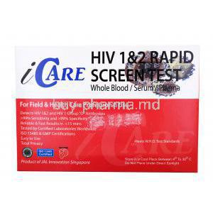 Icare HIV 1&2 Rapid Screen Test, whole blood/ serum/ plasma, Box back presentation with information