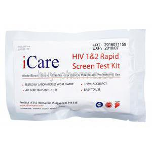 Icare HIV 1&2 Rapid Screen Test, whole blood/ serum/ plasma, packaging of test kit information front presentation