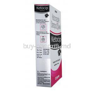 Ketocip, Ketoconazole shampoo,2% 100ml, box side presentation with pictures for directions of use