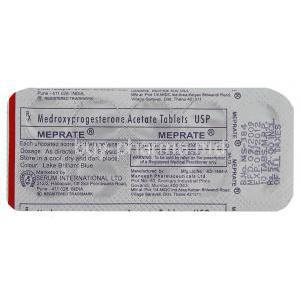 Meprate, Generic  Provera, Medroxyprogestrone Packaging info