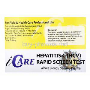 iCare Hepatitis C (HCV) Rapid Screen test kit, Whole Blood/ Serum/ Plasma, Box front presentation with disclaimer label