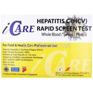 iCare Hepatitis C (HCV) Rapid Screen test kit, Whole Blood/ Serum/ Plasma, Box back presentation with information