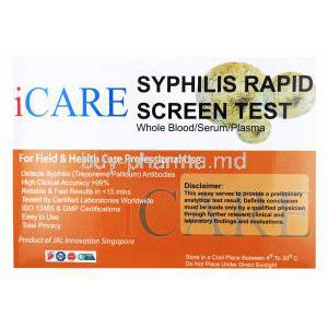 iCare Syphilis Rapid Screen Test Kit, Whole Blood/ Serum/ Plasma, Box front presentation with disclaimer label and information.