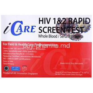 Icare HIV 1&2 Rapid Screen Test, whole blood/ serum/ plasma, Box back presentation with information , JAL innovation