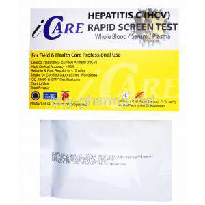 iCare Hepatitis C (HCV) Rapid Screen test kit, Whole Blood/ Serum/ Plasma, Box and test kit package front presentation