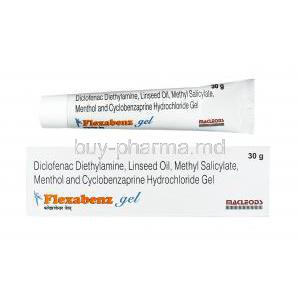 Flexabenz Gel, Cyclobenzaprine/ Diclofenac/ Menthol/ Methyl Salicylate