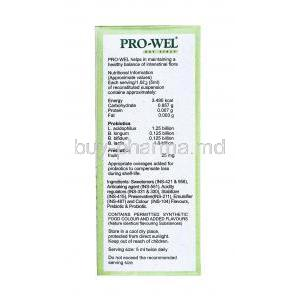 Prowel Dry Syrup nutritional information