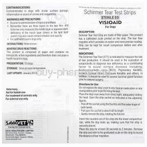 Visioaid Schirmer Tear Test Strips , instructions insert front presentation information