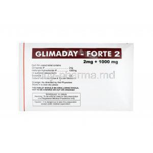 Glimaday Forte, Glimepiride and Metformin 2mg dosage