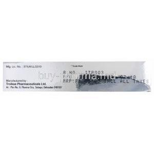 Heparin Gel/ Ointment, Thromborn ointment, Heparin Sodium and Benzyl Nicotinate Ointment, 20g, box side presentation, Mfg by Troikaa Pharmaceuticals Ltd.