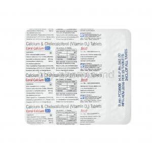Coral Calcium D3, Calcium and Vitamin D3 tablets back