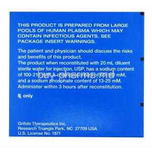 Prolastin-C, Alpha-Proteinase Inhibitor (Human) box side presentation with warning label