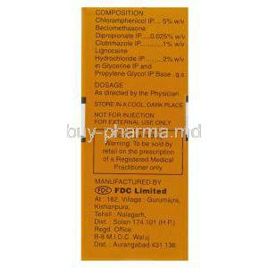 Otek-AC, Chloramphenicol 5%/ Clotrimazole 1%/ Lignocaine HCl 2% Ear Drops composition