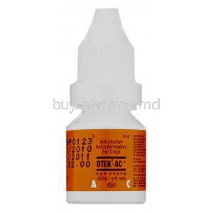 Otek-AC, Chloramphenicol 5%/ Clotrimazole 1%/ Lignocaine HCl 2% Ear Drops bottle