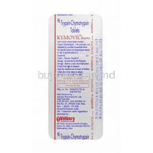 Kymovil Forte, Trypsin Chymotrypsin tablets back