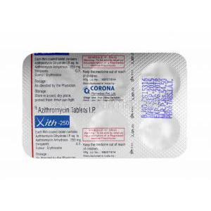 Xith, Azithromycin tablets back