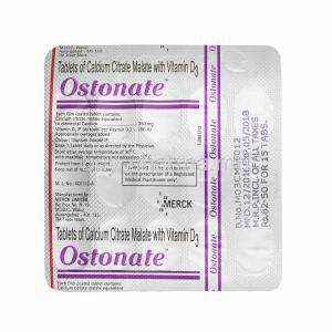 Ostonate, Calcium and Vitamin D3 tablets back