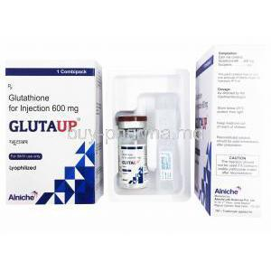Glutathione Injection, 600mg, box front presentation