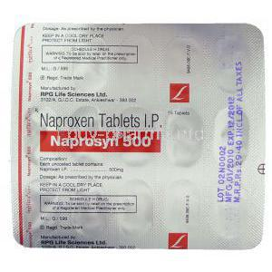 Naprosyn, Generic Naprosyn, Naproxen 500 mg packaging information