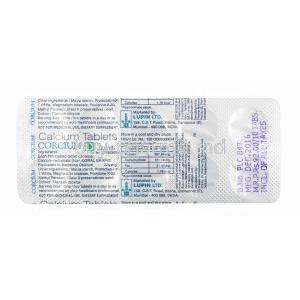 Corcium, Calcium tablets back